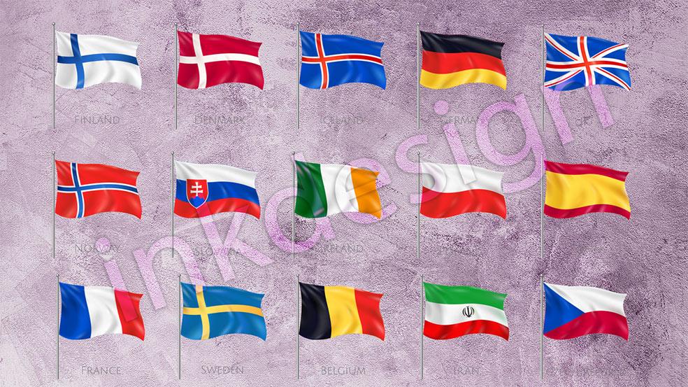 وکتور-پرچم-کشورها-و-پرچم-ایران