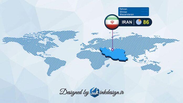 وکتور اینفوگرافیک نقشه ایران و قاره ها